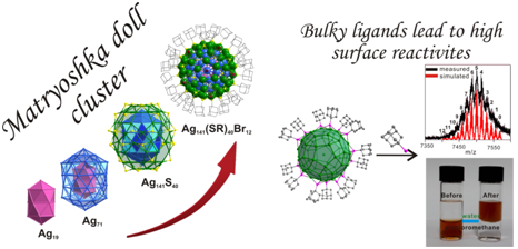 Bulky Surface Ligands Promote Surface Reactivities of [Ag141X12(S-Adm)40]3+ (X = Cl, Br, I) Nanoclusters: Models for Multiple-Twinned Nanoparticles